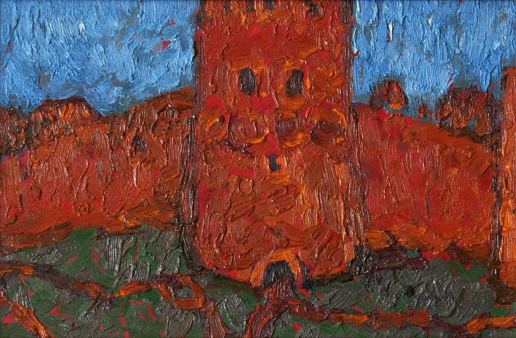 Старая башня.      1970 г. Картон, масло. 15,5х23,5 см.