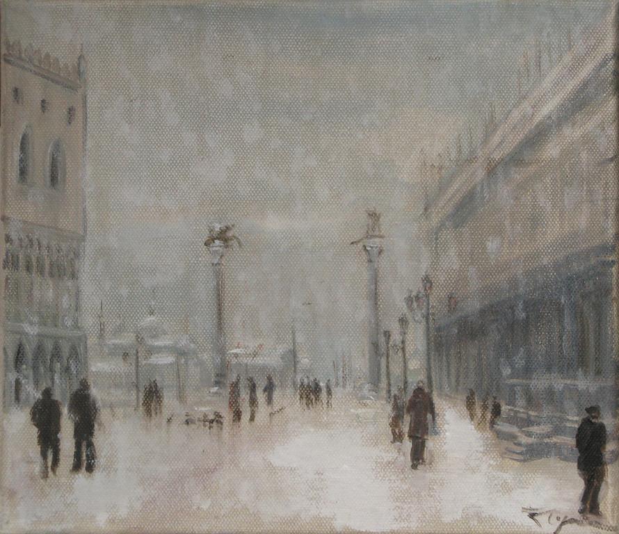 Лидия Чупрякова.       Снег Венеции.      2010 г.      Холст, масло.     25х30 см.