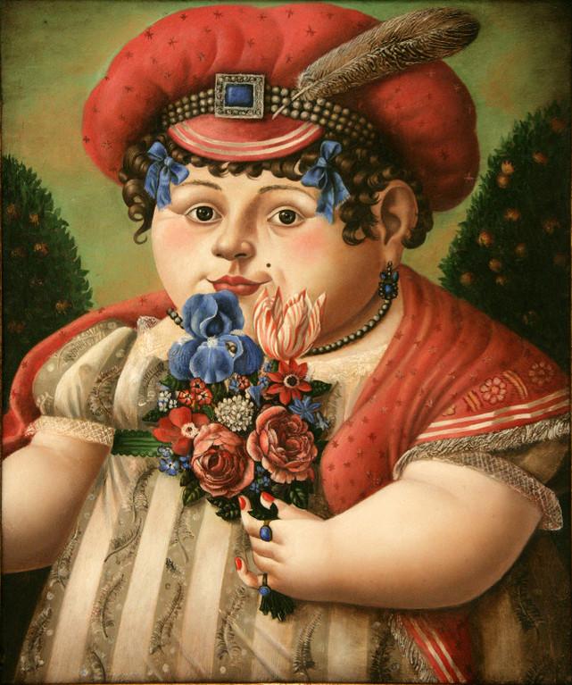 Рамиль Хабибуллин.    Женский портрет.   2012 г.   Холст, масло.  29,7х24,6 см.