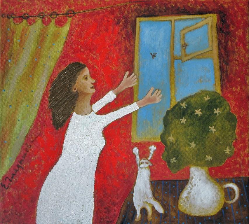 Елена Гладышева.    Муха.    2010 г.    Холст, масло.     45х50 см.