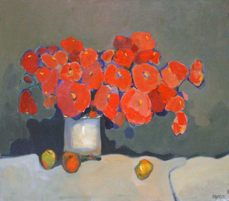 Сансызбек Мирзираимов.    Красный букет.   2011 г.   Холст, масло.  80х90 см.
