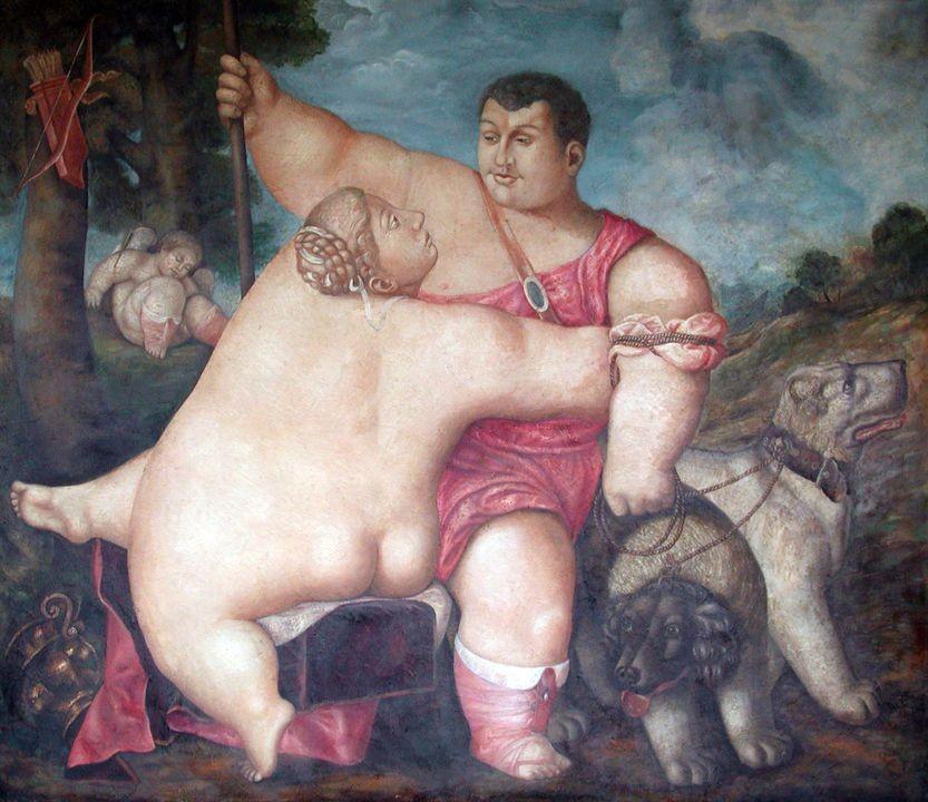 Венера и Адонис.      2002 г. Холст, масло.130 х 150 см.