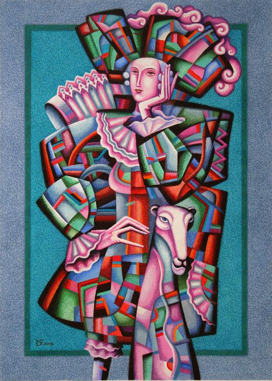 Юрий Гладонюк.     Карнавал-1.     2006 г.     Бум., смешанная техника. 54х39 см.