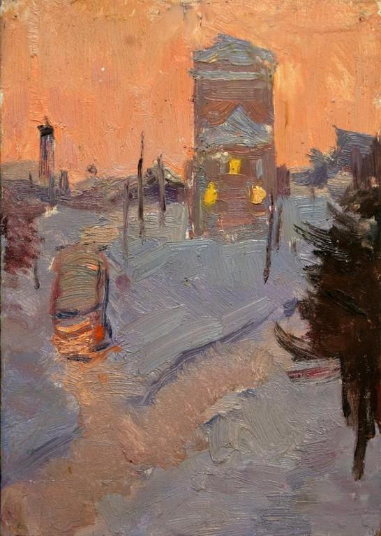 Морозное утро.    1971 г. Картон, масло. 16,5х23,5 см.