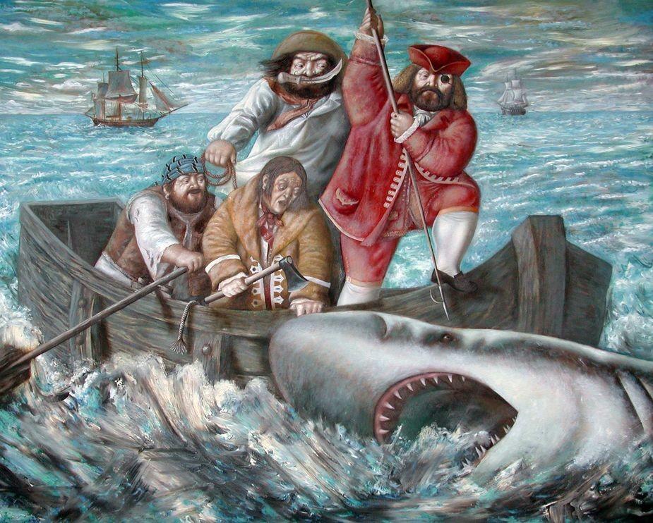 Охотники на белых акул.     2001 г. Холст, масло. 116,8х142 см.