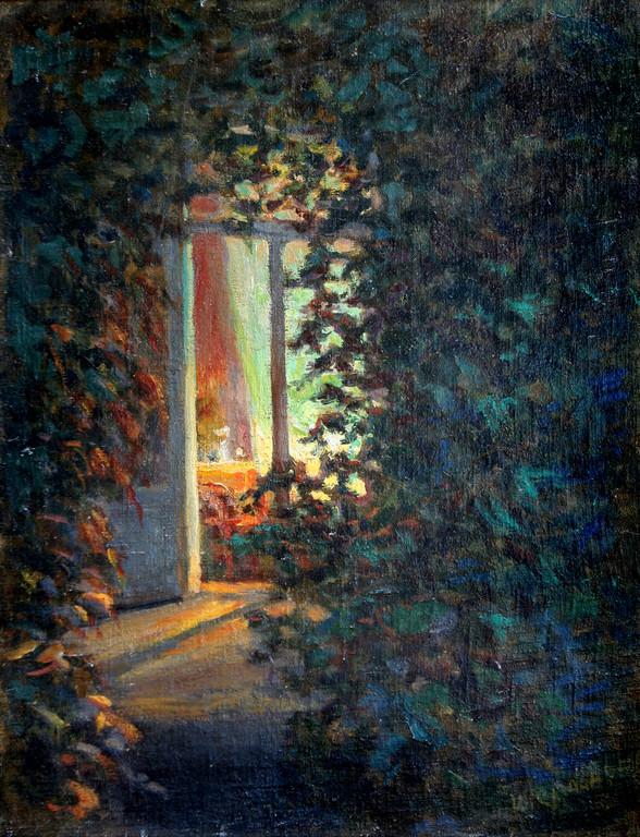 Иван Слюсарев (1886-1962).       Вечер в саду- ΙΙ.    1930-е годы.     ДВП, холст, масло.  65х52 см.