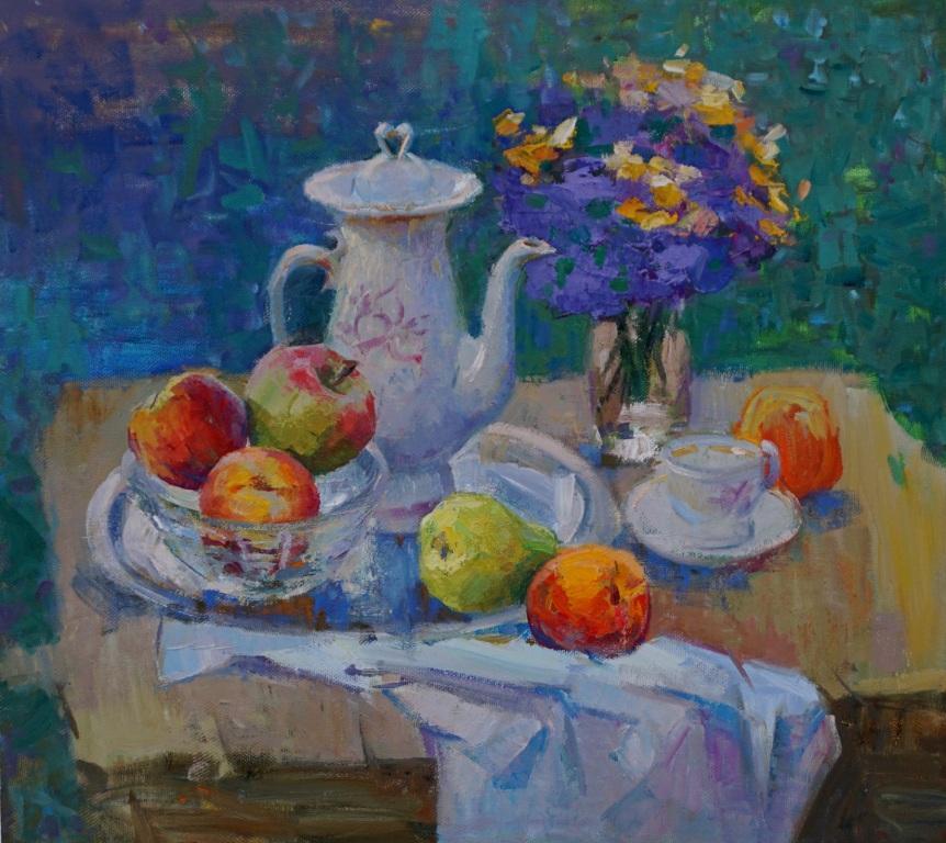 Асмик Манукян       Армения. Натюрморт с чайником.     2016 г.      55х50 см.   Холст, масло.
