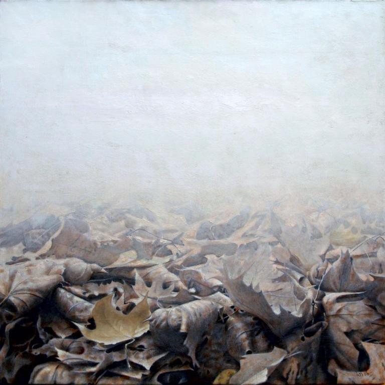 Листья.      2006 г. Холст, масло, графит. 90х90 см.