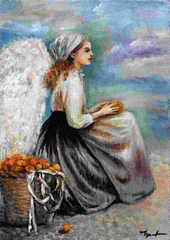 Лидия Чупрякова.   Ангел с корзиной фруктов.    2007 г. Холст, масло.40х28 см