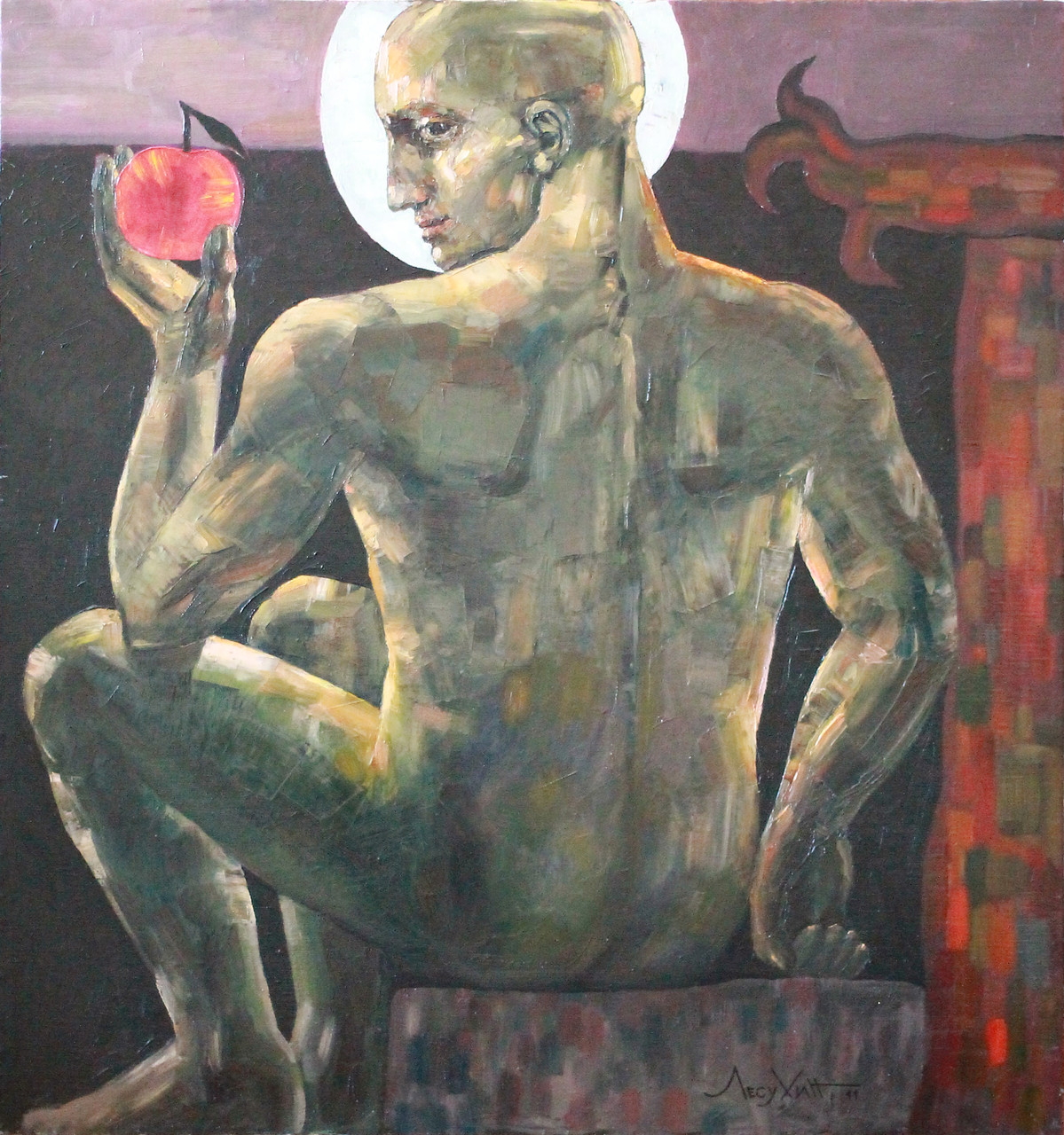 Григорий Лесухин.     Яблоко (Адам).     2013 г.      Холст, масло.      90х90 см.