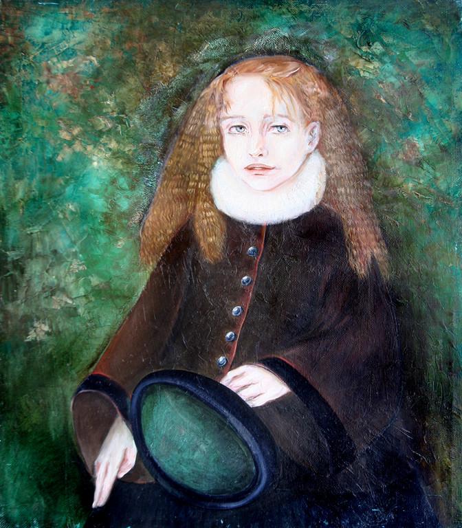 Лидия Чупрякова.        Девочка в зимнем саду.      1997г.    Холст, масло.    60х50 см.
