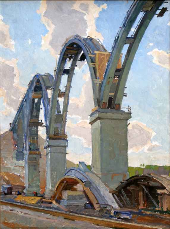 Александр Бурак (1921-1997).     Виадук.     1961 г. Картон, масло. 69х49.5 см.