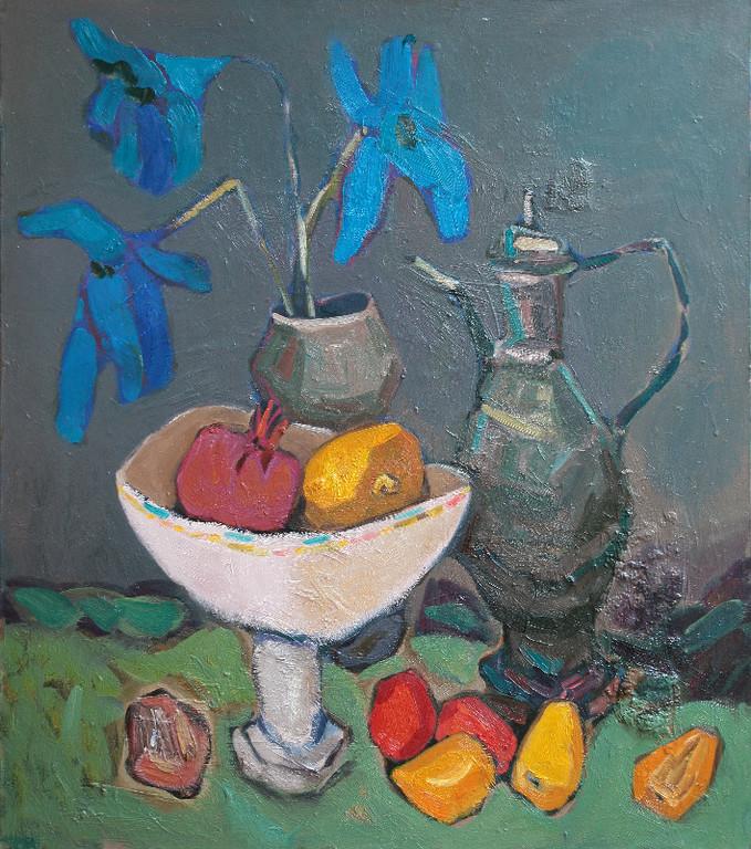 Натюрморт с синими цветами.       2010г.           холст, масло              80х70 см