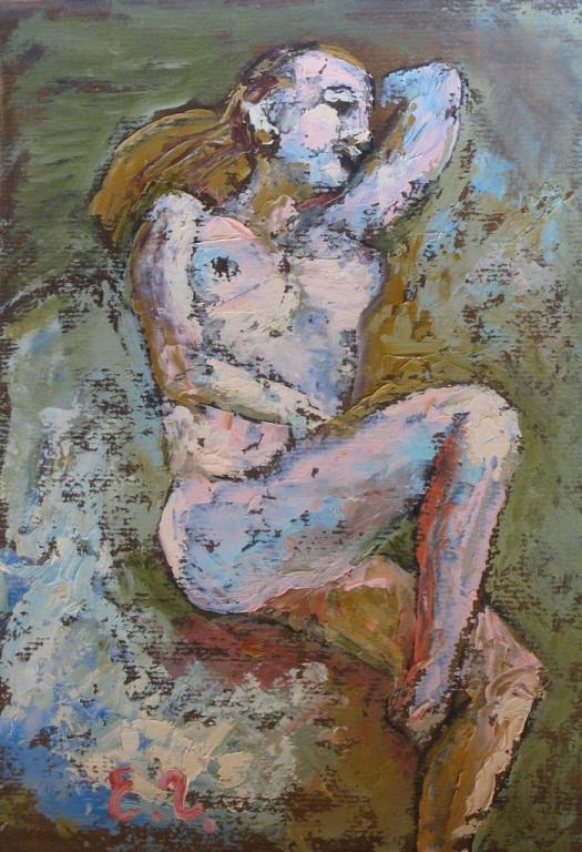 Елена Гладышева.      Этюд № 8 (в зелено-голубом).      2009 г. Картон, масло.      31Х22 см.
