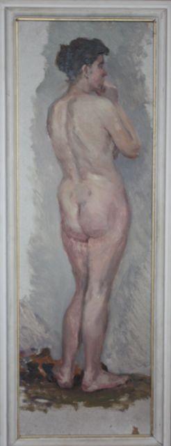Александр Бурак (1921-1997 г.)     Натурщица.    1960-е. Картон, масло. 70х32 см.