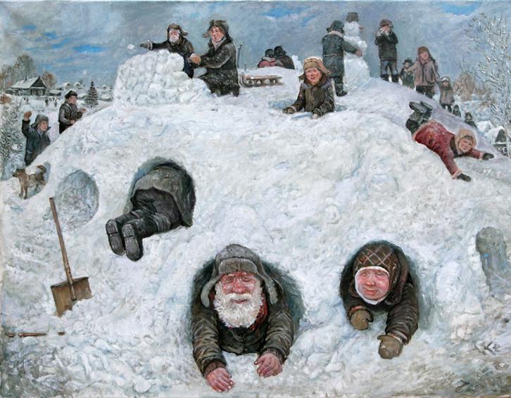 Леонид    Баранов.    Зима. Игры.     2007 г.   Холст, масло. 60х80 см.