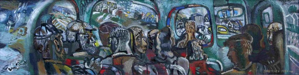 Герман Метелев (1938—2006).     Автобус. 1987 г. Холст, масло.       28,5х107,5 см.