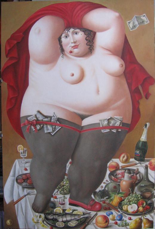 Рамиль Хабибуллин.      Идиллия.     2008 г. Холст, масло. 150х99 см.