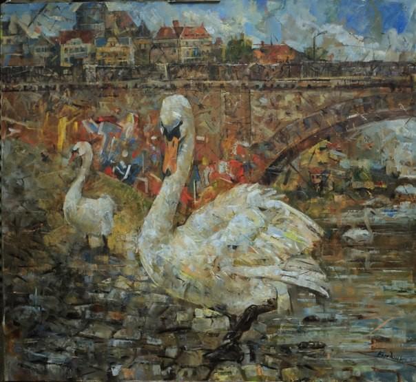 Лебедь в Праге.         Холст, масло.            2012 г.          110х120 см.