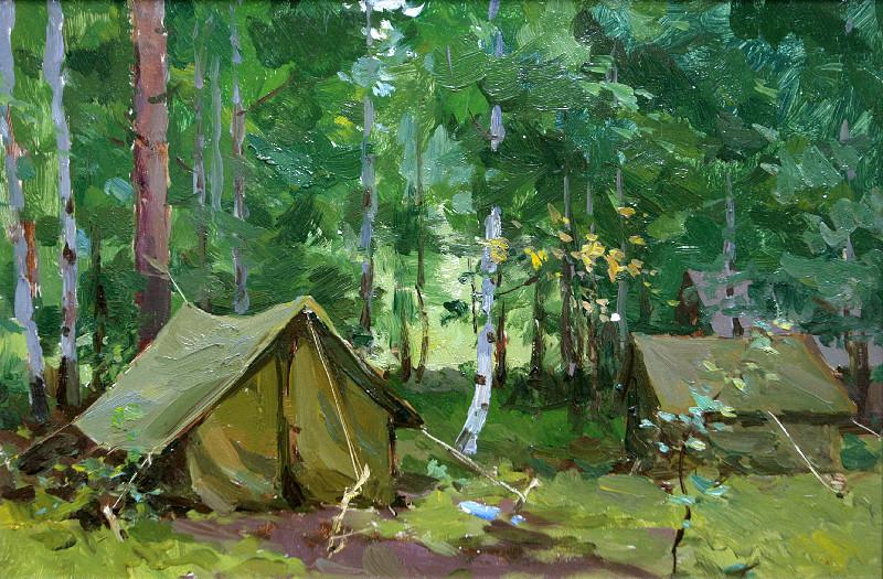 Бернгард Олег Эдуардович (1909-1998 г.)             Палатки в лесу.               1963 г.   Картон, масло.   32х47см