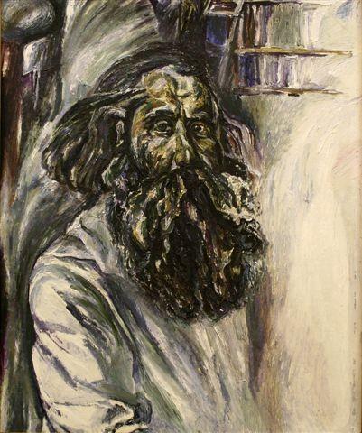 Алексей Бурлаков (1940-1999).     Автопортрет в белом.    1981 г. Картон, масло.