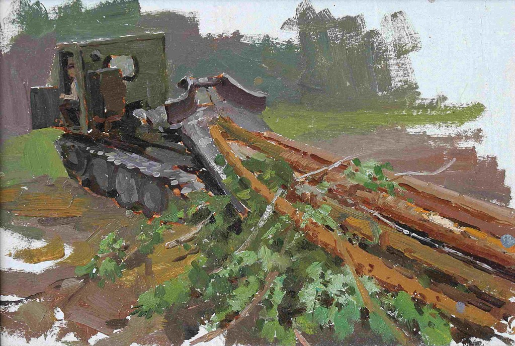 Николай Засыпкин (1921-1989).    Тягач.    1955 г. Картон, масло. 24х34,2 см.
