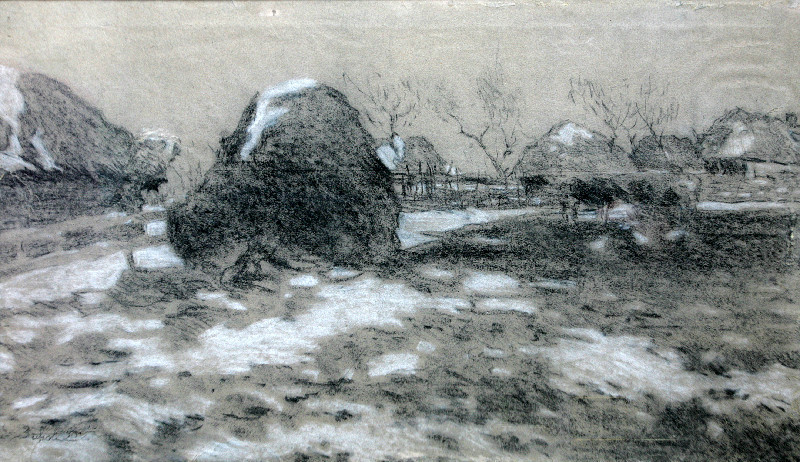 Зинов Виктор Семенович (1907-1991 г.)            Сено.       1936 г. Бумага, уголь, мел.  47х79 см