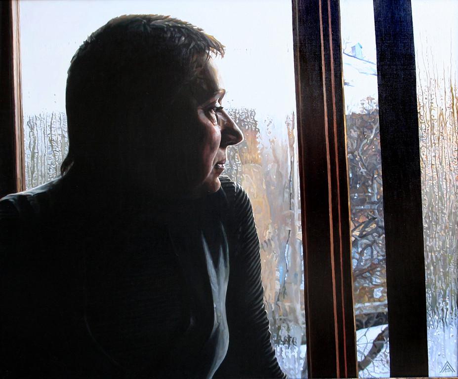 Любовь Александрова.   Зимний день. Сестра.     2009 г.    Холст, масло. 80х90 см.