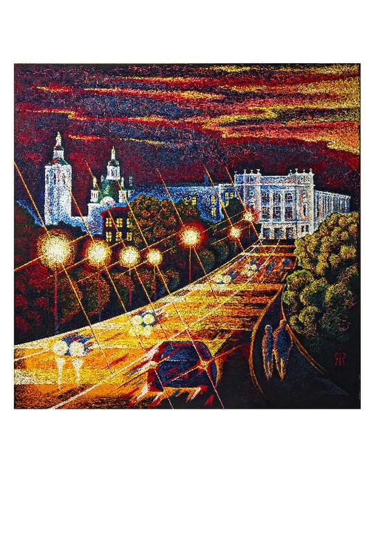"""Ночной город.     Проект """"Прогулка по городу"""".     2010г.      Холст, акрил.   180х180 см."""