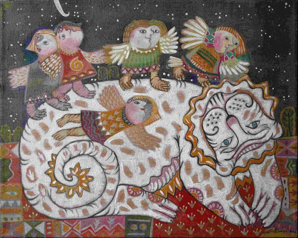 """Алена Азерная.    """"Лев и шиликуны"""".      2005 г. Холст, масло. 40х50 см."""