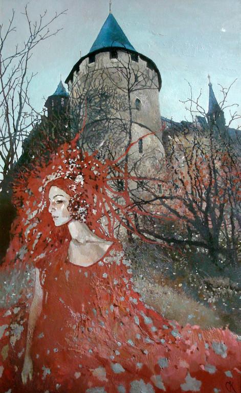 Станислав Крупп.     Ангел с осенью в сердце.    2009 г. Холст, масло.             110х70 см.