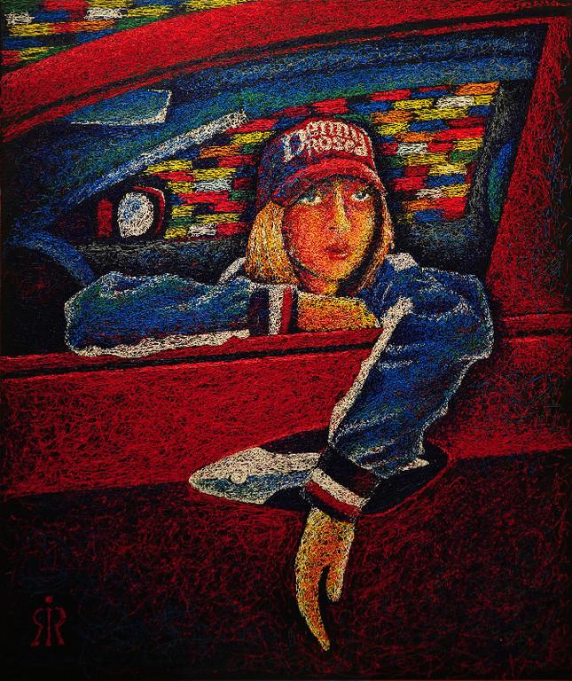 Красная хонда.   2001 г.    Холст, акрил.    120х100 см.