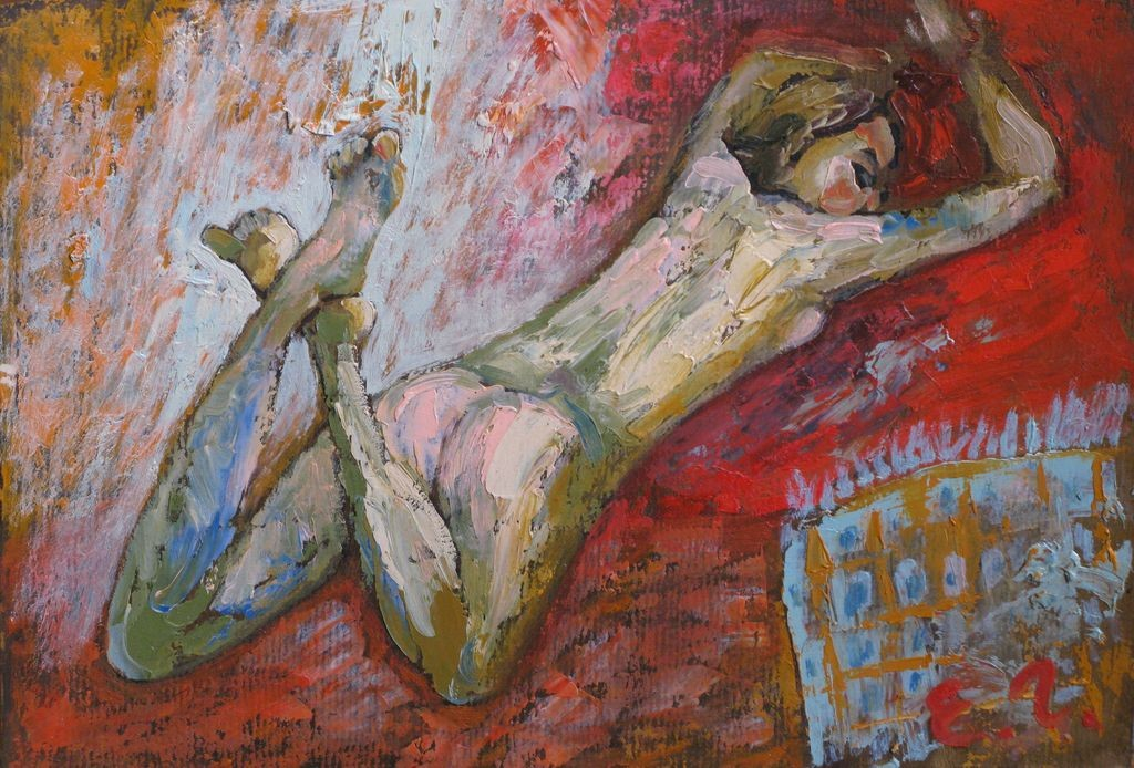 Елена Гладышева.     Этюд № 6 (с голубым пледом).    20009 г. Картон, масло.        22Х31 см.