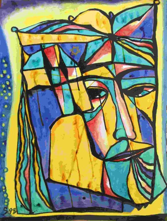 Владимир Смелков.    Царь Давид.    1998 г. Бумага, тушь. 85х61 см.