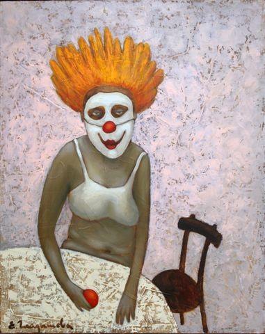 Елена Гладышева.    Клоунесса-1.    2007 г. Холст, масло. 50х40 см.