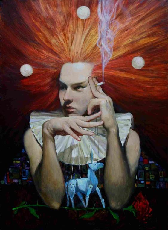 Анатолий Михуля-Морозов.    Клоун с синей лошадкой.    2008 г. Холст, масло.          70х80 см.