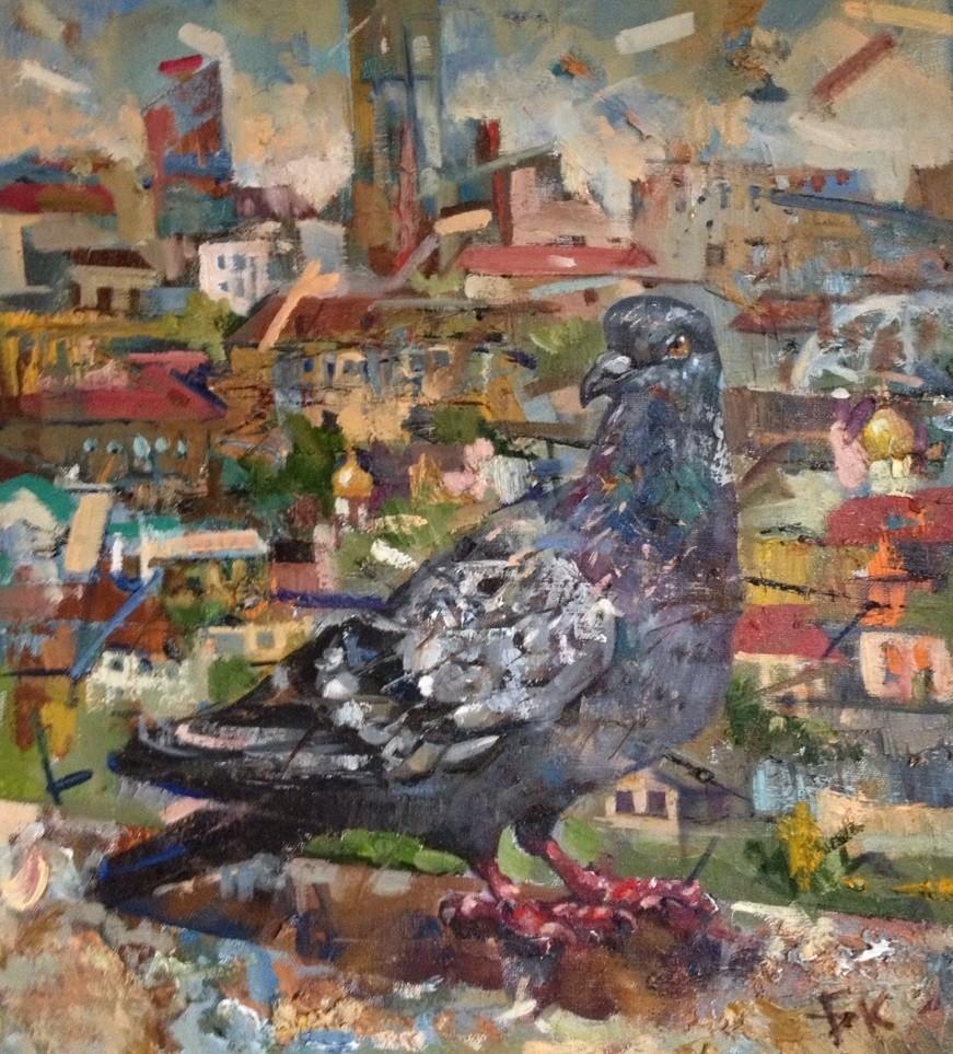 Уралец (Голубь).     2014 г.     Холст, масло.     45х40 см.