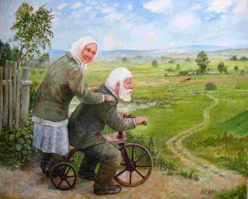 Леонид Баранов.     Старый велосипед.    2009 г. Холст, масло. 40х50 см.