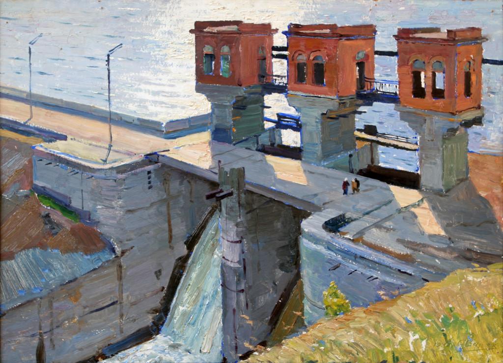 Александр Бурак (1921-1997).     Плотина.   1970 г. Картон,масло. 50х70 см.
