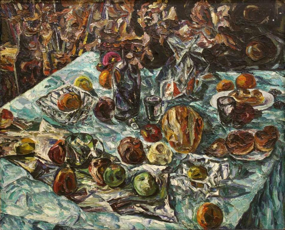 Алексей Бурлаков.     Осенний натюрморт.      1977 г. Картон, масло.