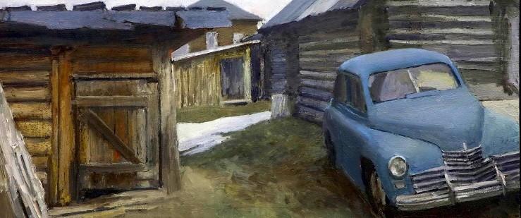 Максим Каеткин.      Двор.     2008 г. Холст, масло. 50х120 см.