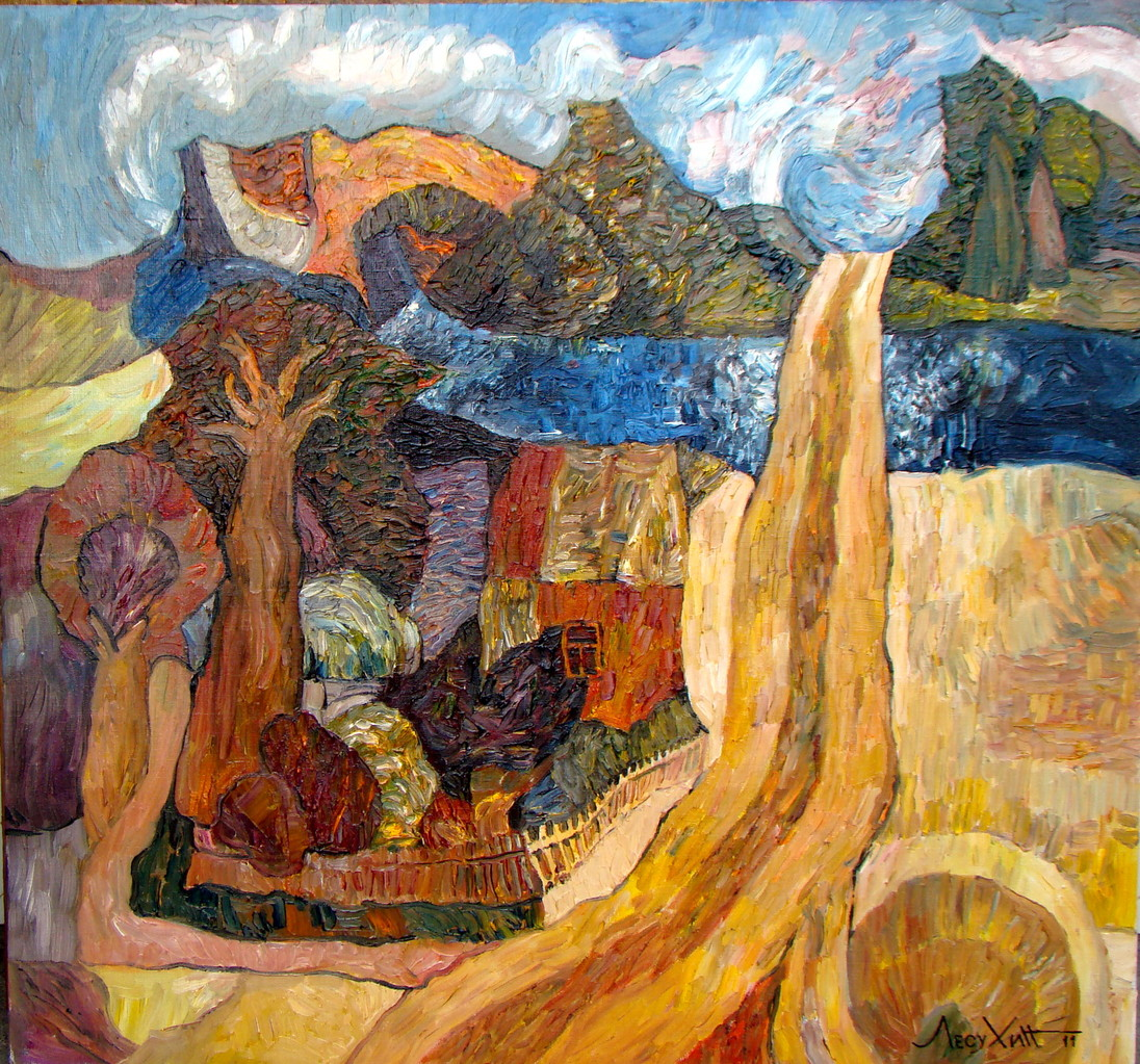 Река детства.     2011 г.    Холст, масло.      75х80 см.