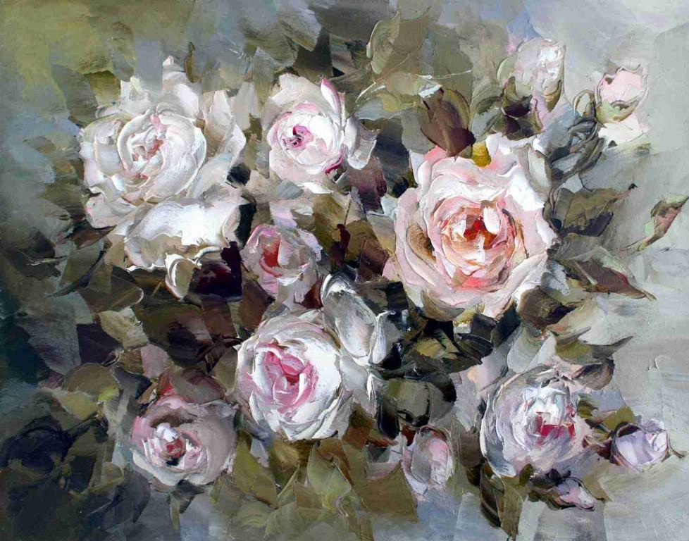 Оксана Кравченко.     Розы.     2006 г. Холст, масло. 40Х50 см.