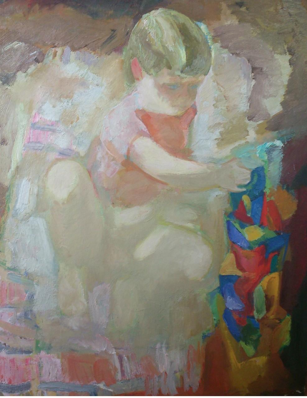 Виктор Меркулов (1936-2010).      Солнечный зайчик.     Холст, масло.      89х79 см.