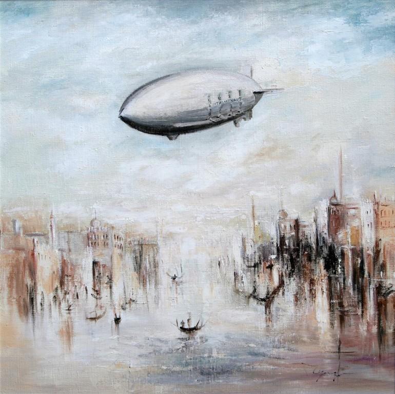 Лидия Чупрякова.     Дирижабль над Венецией.    2009 г. Холст, масло.   50х50 см.