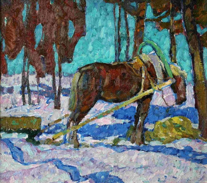 Синяя лошадь.     1969 г.   Холст, масло. 48,5х56 см.