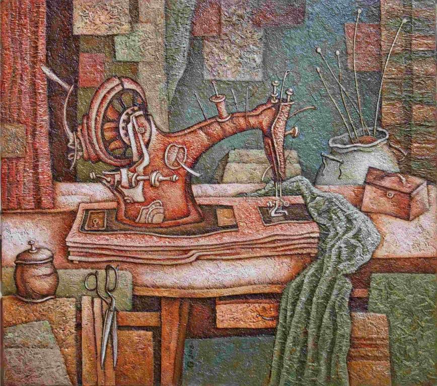 Юрий Гладонюк.     Швейная машинка.    2008 г. Оргалит, фактур. техн., масло, акрил. 67х77 см.