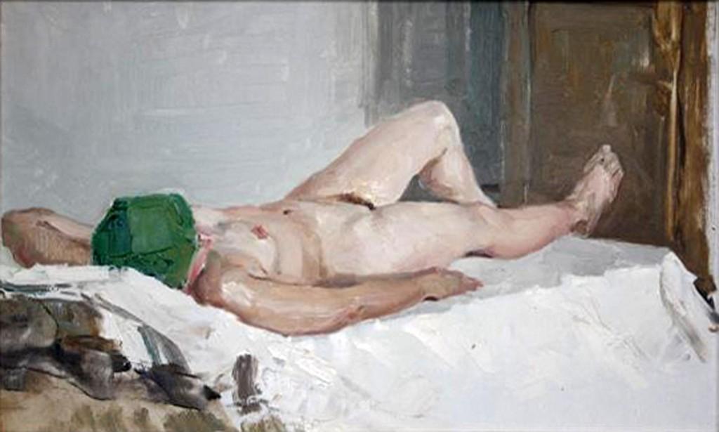 Александр Бурак (1921-1997 г.)     Обнаженная.    1960-е. Картон, масло. 29х48 см.
