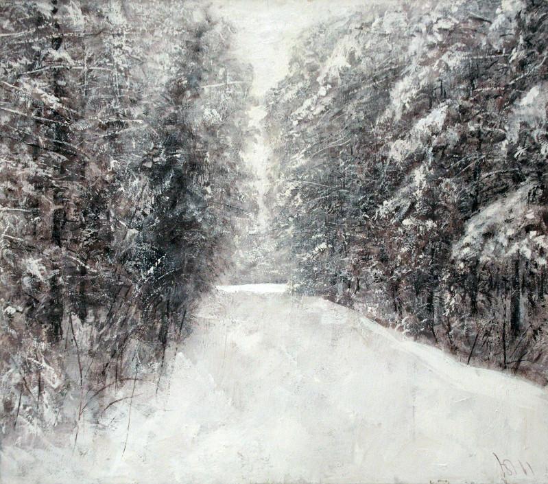 Юрий Первушин.   Зимний сон. (Лес)    2011 г.    Холст, акрил.  80х90 см.