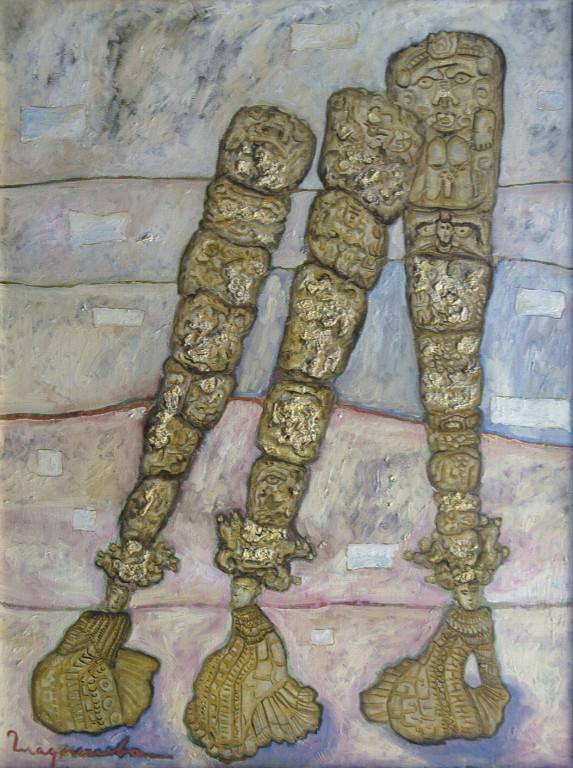 Елена Гладышева.      Календарь майя .     1994 г. Холст, масло. 80х60 см.